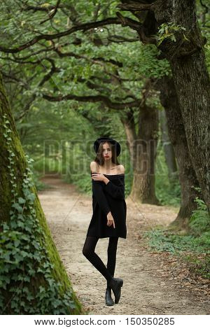 Sexy Halloween Woman In Forest