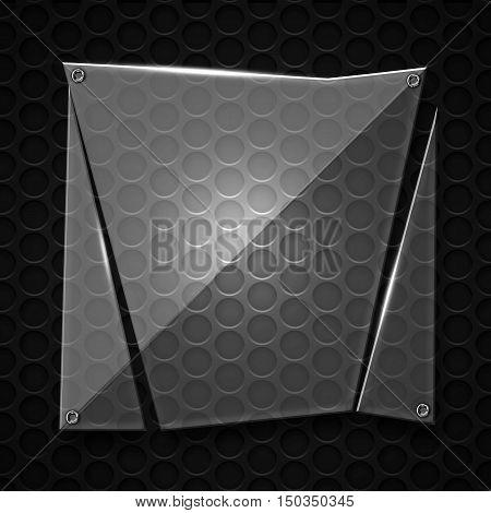 Set 8. Glass On Black Metallic Mesh Wall.
