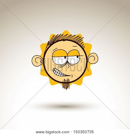 Vector Graphic Drawing Of Personality Face, Bizarre Male Portrait. Social Network Theme Illustration