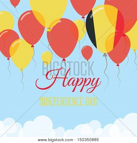 Belgium Independence Day Flat Greeting Card. Flying Rubber Balloons In Colors Of The Belgian Flag. H