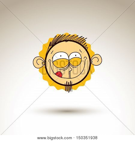 Vector Artistic Colorful Drawing Of Bizarre Person Face, Communication And Social Network Design Ele