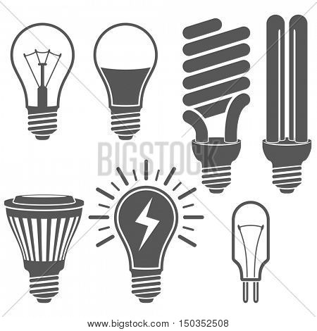 Black and white light bulb icons vector set.  Classic, energy saving and LED lamp signs.