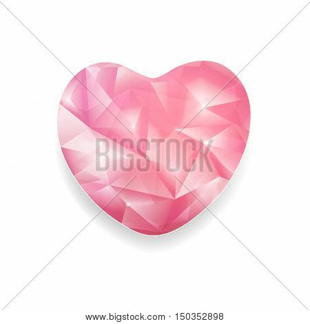 Abstract pink Crystal Heart With Twinkle On A White Background