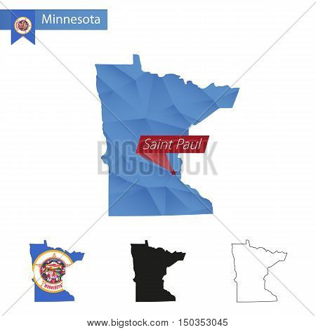 State Of Minnesota Blue Low Poly Map With Capital Saint Paul.