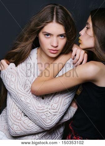 Two Pretty Girls Friends