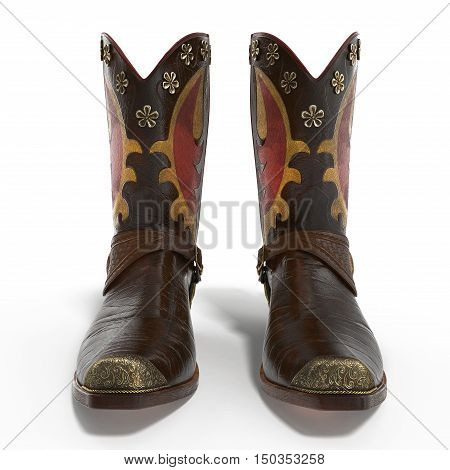 Front view western boots isolated on white background. 3D illustration