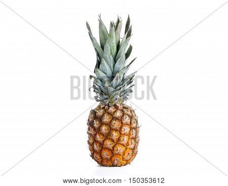 Perfect Pineapple On A White Background In The Studio. Vitamins. Isolated Green Pineapple. Professio