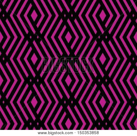 Purple rhythmic textured endless pattern continuous creative textile geometric motif background with rhombs and intertwine lines.