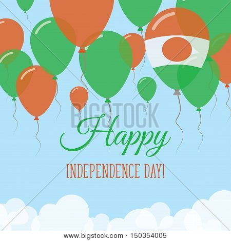 Niger Independence Day Flat Greeting Card. Flying Rubber Balloons In Colors Of The Nigerian Flag. Ha