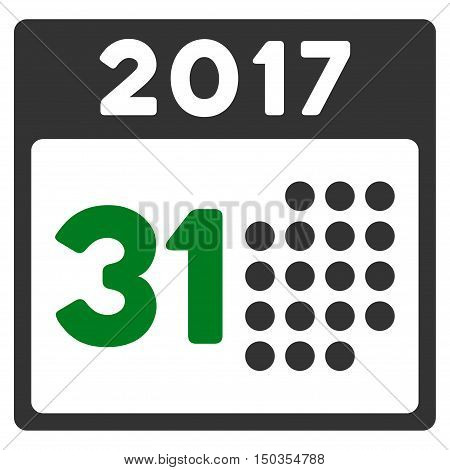 Last 2017 Month Day vector pictograph. Style is flat graphic symbol, green and gray colors, white background.
