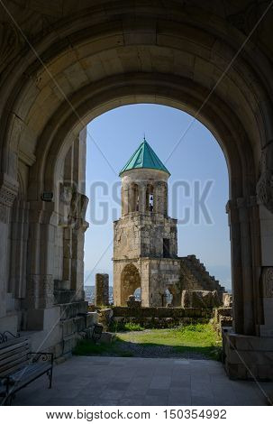 Bagrati Cathedral bell-tower through arch entrance. Georgia Kutaisi.