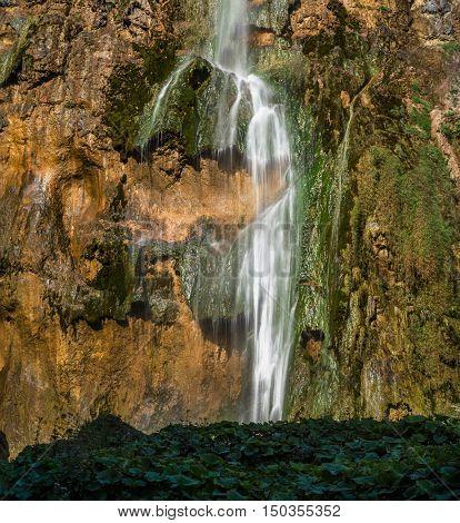 Grand view of Plitvice National Park, Croatia - the Big Waterfall