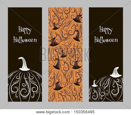 Set of two-color abstract vertical banners with abstract patterns pumpkin for Halloween harvest festival or party vector illustrationet of vertical banners with pumpkins