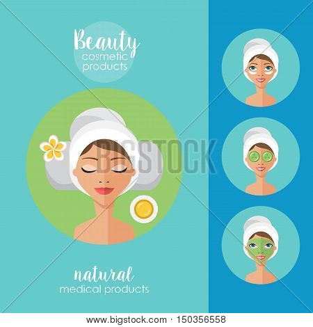 Beauty Salon And Spa Concept. Face Mask And Beauty Treatment Procedure Set.