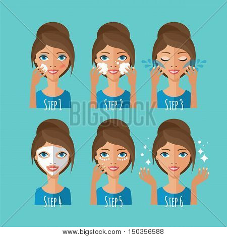 Skin Care Concept. Young Woman Cleaning And Care Her Face. Facial Treatment Procedures