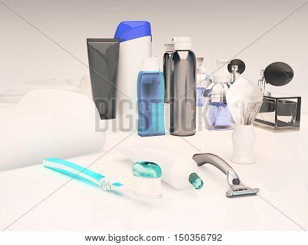 Toothpaste brush soap balm razor shaving brush towel shampooperfume mirror. 3D illustration