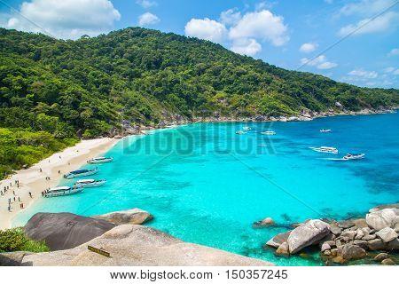 Beautiful crystal clear sea at tropical island, Similan island, Andaman sea, Thailand