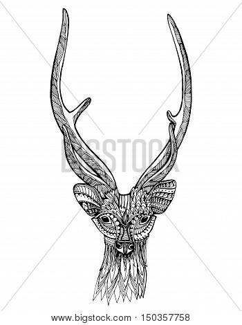 Christmas Deer. Reindeer Santa. Portrait Of . Head. Stylized . Line Art. Ornamental. Drawing By Hand