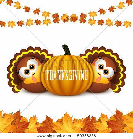 Card for Thanksgiving Day. Thanksgiving celebration design with Turkey and Autumn Leaves.