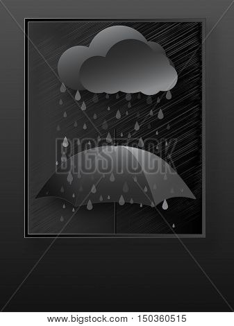 Abstract painting on the wall depicting the rain umbrella clouds.Vector