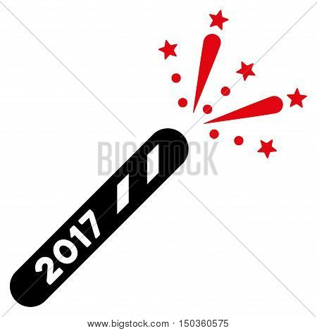 2017 Firecracker vector pictogram. Style is flat graphic symbol, intensive red and black colors, white background.