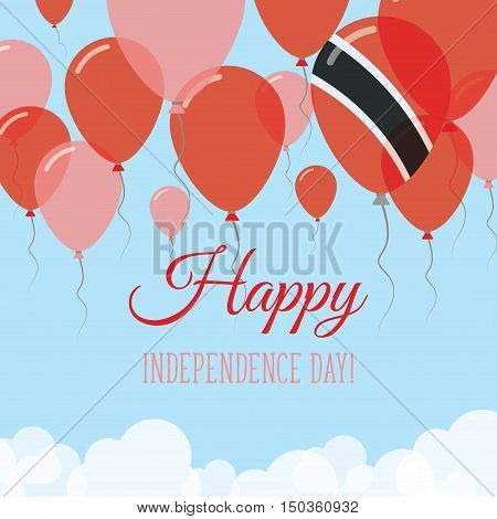 Trinidad And Tobago Independence Day Flat Greeting Card. Flying Rubber Balloons In Colors Of The Tri