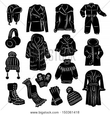 Vector illustrations of winter warm clothes with accessories