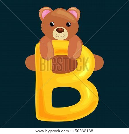 bear animal and letter for kids abc education in preschool.Cute animals letters english alphabet. Cartoon animals alphabet for learning letters vector illustration. Single letter with wild animal bear