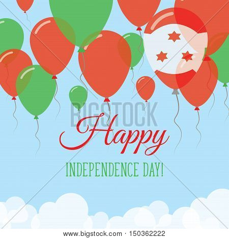 Burundi Independence Day Flat Greeting Card. Flying Rubber Balloons In Colors Of The Burundian Flag.