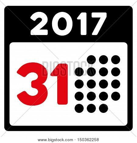 Last 2017 Month Day vector icon. Style is flat graphic symbol, intensive red and black colors, white background.