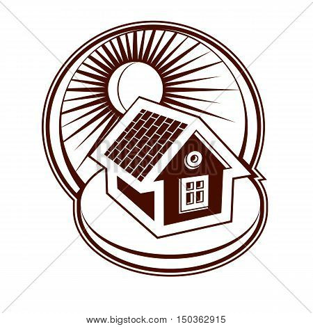 Real Estate Concept. Illustration Of House On Sunset Background, Vector Design Element. Simple House