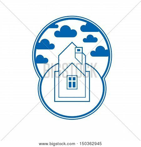 House Detailed Vector Illustration, Village Idea. Graphic Country House Image, Simple Countryside Bu