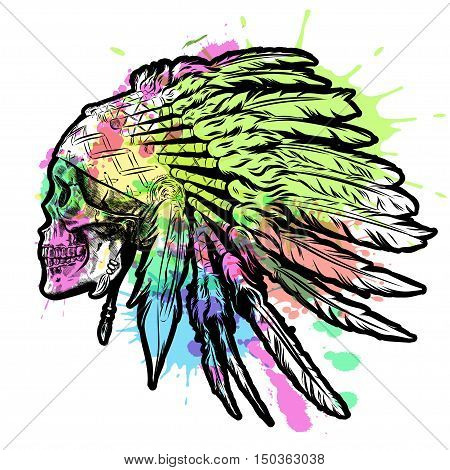 Hand Drawn Native American Indian Feather Headdress With Human Skull. Vector watercolor Illustration EPS