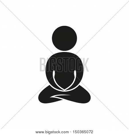monochrome abstract meditating people on white background. icon created for Mobile Web Decor Print Products Applications. On white background. Vector illustration.