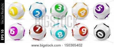 Vector Colorful Bingo. Lottery Number Balls. Colored balls isolated. Bingo ball. Bingo balls with numbers. Set of colored balls. Realistic vector. Lotto concept. Bingo balls set.