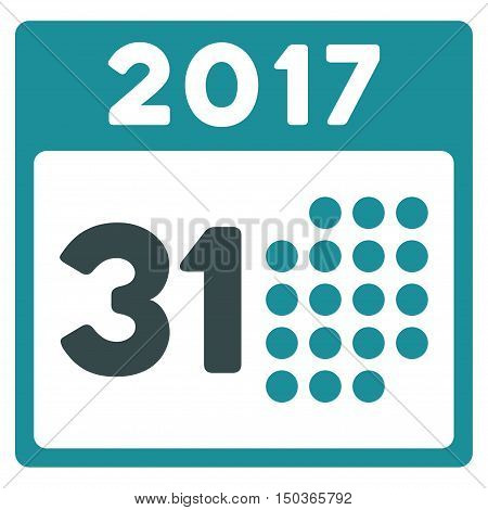 Last 2017 Month Day vector icon. Style is flat graphic symbol, soft blue colors, white background.