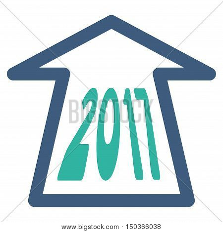 2017 Ahead Arrow vector pictograph. Style is flat graphic symbol, cobalt and cyan colors, white background.