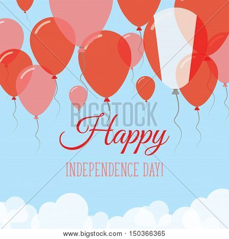 Peru Independence Day Flat Greeting Card. Flying Rubber Balloons In Colors Of The Peruvian Flag. Hap