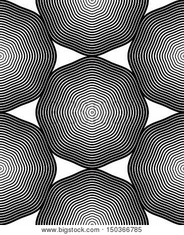 Ornate vector monochrome abstract background with black lines. Symmetric decorative graphical pattern geometric illustration.