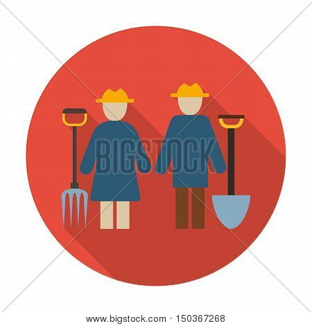 farmers flat icon with long shadow for web design