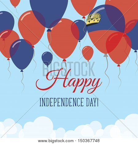 Liechtenstein Independence Day Flat Greeting Card. Flying Rubber Balloons In Colors Of The Liechtens