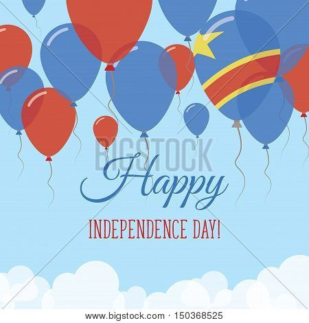 Congo, The Democratic Republic Of The Independence Day Flat Greeting Card. Flying Rubber Balloons In