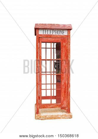 Old red phone booth on the white background
