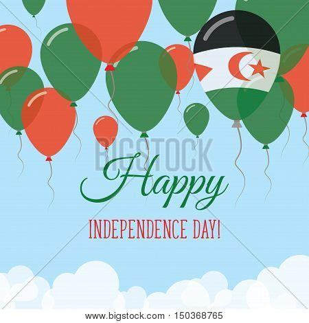 Western Sahara Independence Day Flat Greeting Card. Flying Rubber Balloons In Colors Of The Sahrawi