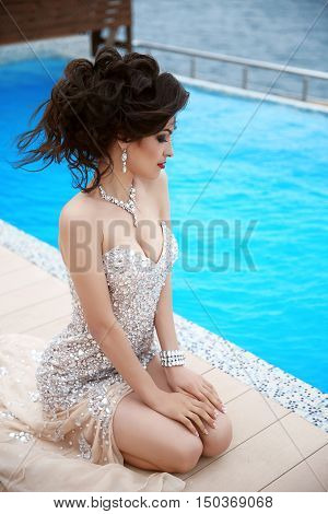 Beautiful Sexy Brunette Elegant Model Woman In Fashion Dress With Diamond Jewelry, Makeup Red Lips,