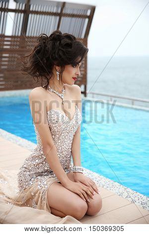 Beauty Fashion Sexy Brunette Elegant Model Woman In Beaded Dress With Diamond Jewelry, Makeup Red Li