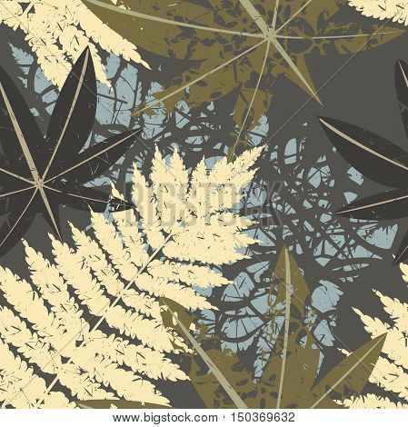 Seamless pattern of tropical plants. Template with tropical leaves can be used for design fabric, linen, tile , covers and more creative designs.