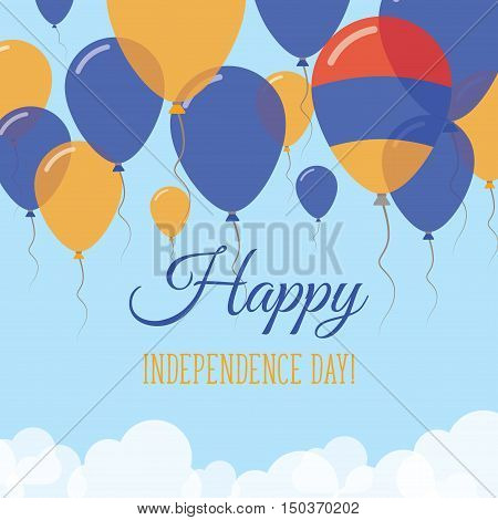 Armenia Independence Day Flat Greeting Card. Flying Rubber Balloons In Colors Of The Armenian Flag.