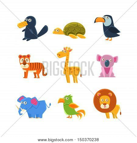 Exotic Animals Fauna Set Of Silly Childish Drawings Isolated On White Background. Funny Animal Colorful Vector Stickers Set.