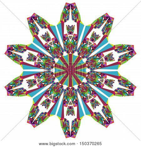 Vector Image. Symmetrical pattern of brightly colored elements
